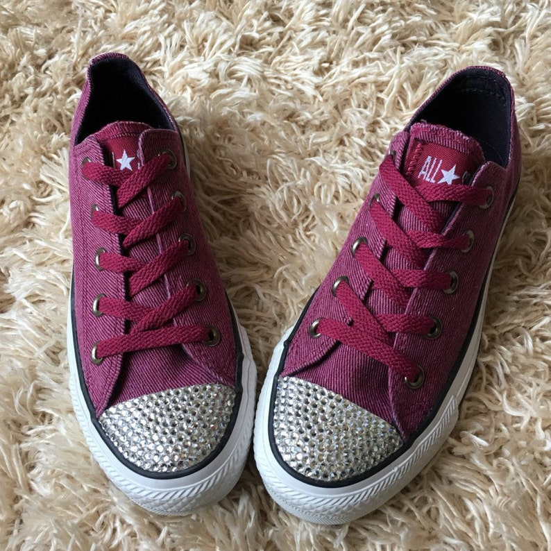 485f7202f937d SALE!! Ready to Ship! Girl's Purple Low-Top Blinged Out Converse Shoes with  Matching Purple Shoelaces. Solid Clear Rhinestone Bling.