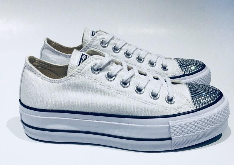 f0f9d3a611b9 Platform White Wedding Converse Shoes. Rhinestone Bling Low