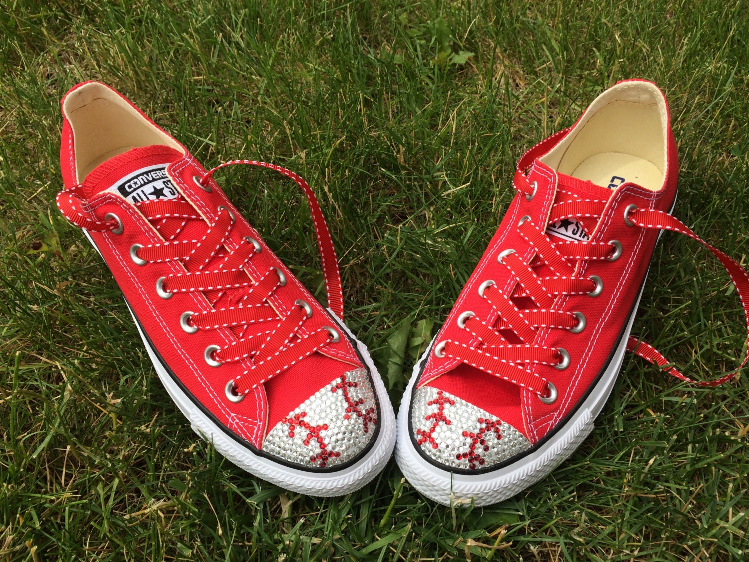 Red Baseball Converse Blinged Shoes. Women's Baseball Custom Converse. Personalized Gift: Baseball Women's Mom, Baseball Player, Baseball Fans. Gift for her daff3f