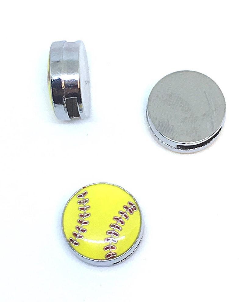 6e8e44d49d9f Softball Shoelace Charm. 8mm Slide Charm. Shoe Jewelry.