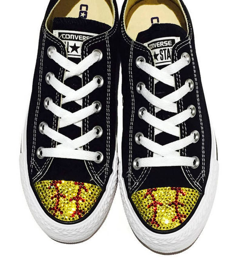 4fcee499b349 Softball Blinged Converse Shoes. Women s Sneakers for
