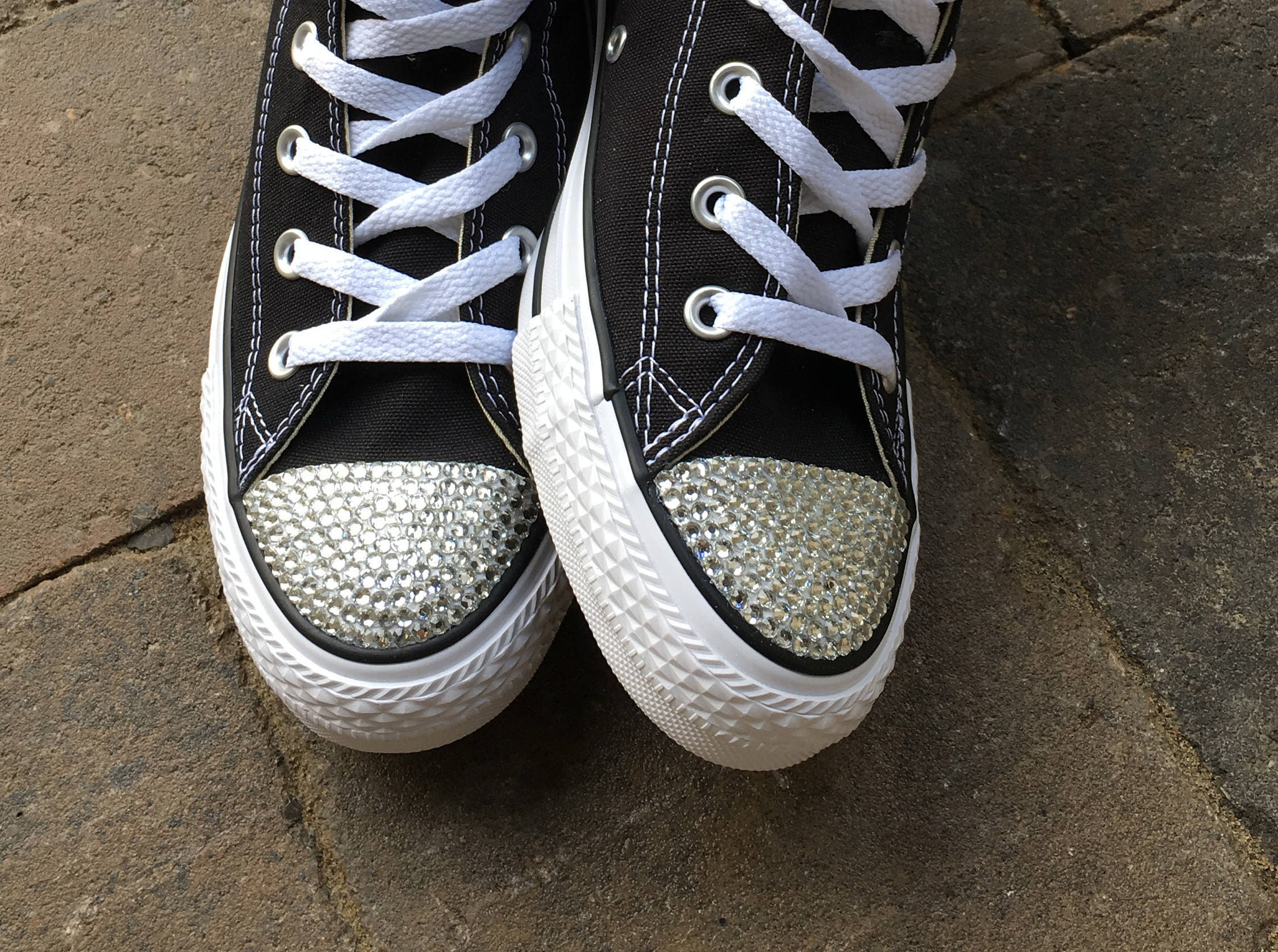Custom Converse Bedazzled Shoes Clear Rhinestone Bling