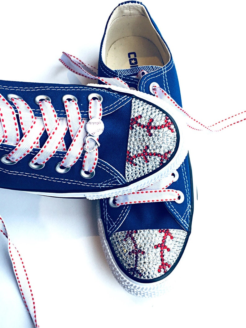 9bec9eaa9d22d Baseball Converse Shoes. Baseball Mom Gift. Women s Bling