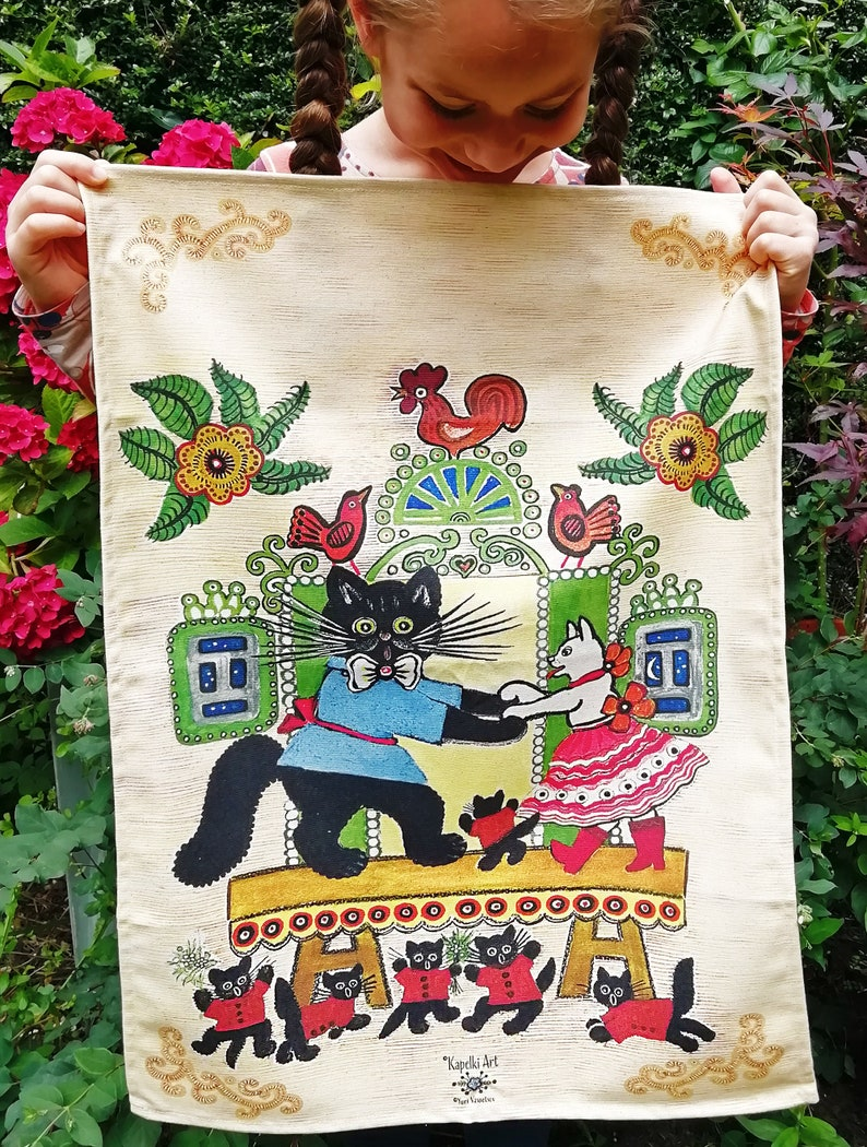 Folk Art Easter Quirky Animals Unusual Tea Towel Yuri Vasnetsov Owl Tea Towel Russian Home Colorful Home Kitchen Textile