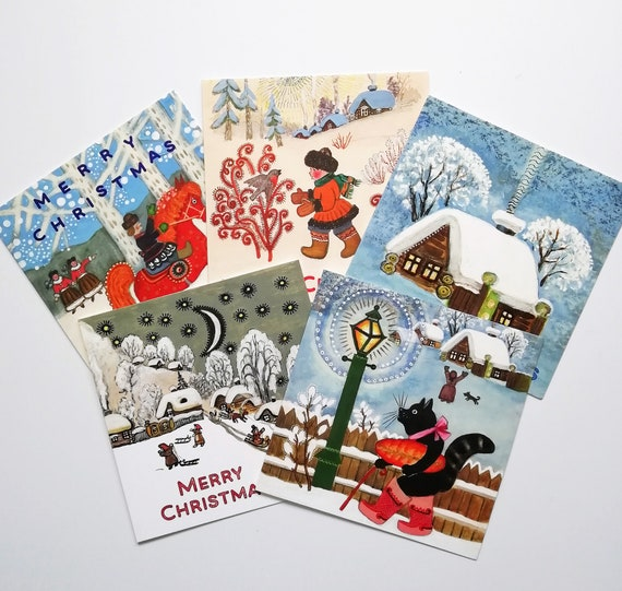 Any 5 Christmas Cards of Your Choice Christmas Cards Folk Art Pack of Cards