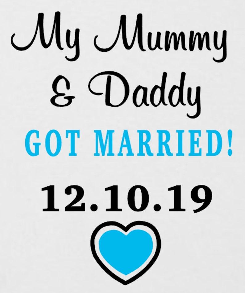 Personalised with Wedding Date Wedding Flower Girl My MUMMY /& DADDY GOT Married Page Boy BodysuitBaby GrowVestRomperSleep Suit