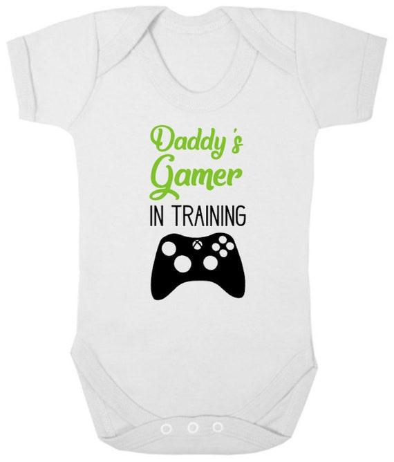 DADDYS FUTURE GAMING BUDDY Funny Boys Girls BabyGrow Gamer Bodysuit Dad Gift