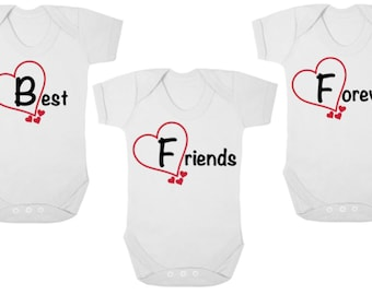 BFF Best Friends Forever  -  New TRIPLETS Baby Bodysuits/Baby Grows Onesies/Vests/Rompers, Baby Shower, Newborn Gift, Christening Gift