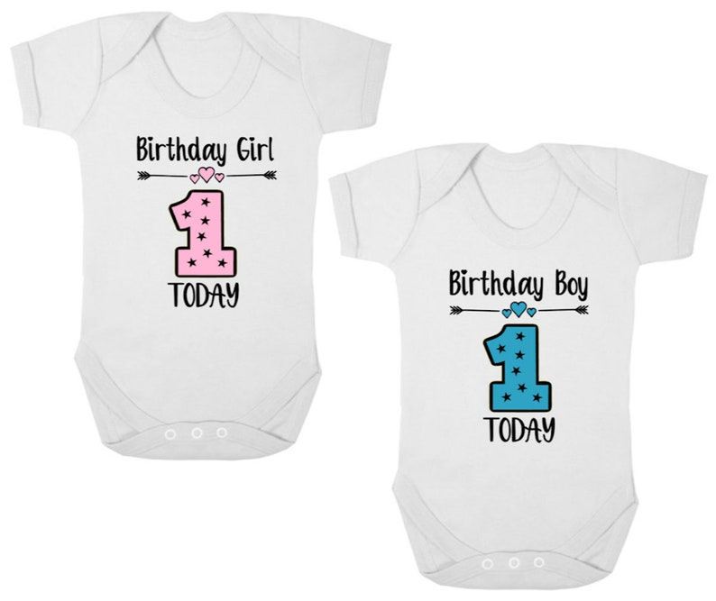 8d7bff84b 1ST BIRTHDAY GIRL/BOY New Baby Bodysuit/Baby Grow   Etsy