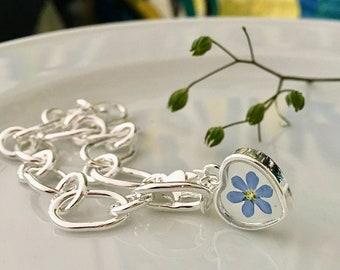 Forget me not bracelet, Sterling silver bracelet, real flower bracelet, bracelet Sterling silver