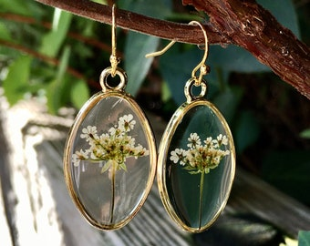 Real flower earrings, real flower jewelry, real flower Gift, Dried flower earrings