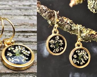 Real flower earrings, Queen Anne's lace, Queen Anne's lace earrings, earrings gold, open back earrings,