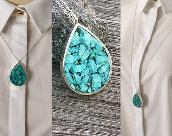Turquoise Necklace, turquoise,turquoise pendant, Silver  necklace,925 Sterling Silver chain