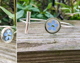 Forget me not bracelet, forget me not cuff, Stainless Steel bracelet