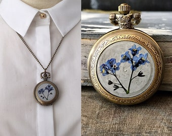 watch necklace, pocket watch, forget me not, real flowers, dried flowers jewelry, gift for her, watch,