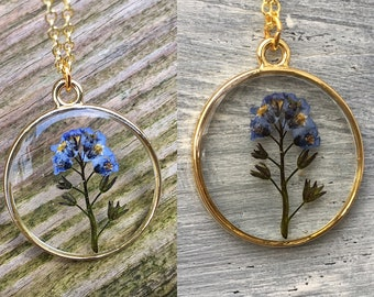 Forget me not necklace, real flower pendant, gift for mom, gift for her