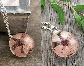 Cherry blossom flower, cherry blossom necklace, 925 Sterling silver, Sakura necklace