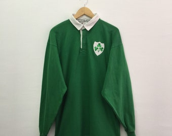 02fae6fae Vintage Ireland Rugby Shirt Mens Size L / 90s Irish Ireland by Halbro Retro  Classic Rugby Shirt