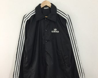 38e0da4ee8c Vintage Adidas Windbreaker Mens Size M / 90s Adidas Trefoil Embroidered  Snap Button Nylon Light Jacket / Adidas Windbreaker