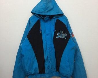 Vintage Carolina Panthers NFL Jacket Men Size XL   Starter Nfl Jacket    Distressed Carolina Panthers Hooded Quilt Lining Bomber Jacket e86a39ece
