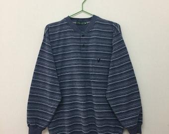LYLE   SCOTT Sweater Vintage Lyle and Scott Single Pocket Striped Soft Thin  Sweater Lyle Scott Jumper Size M cd3301fee