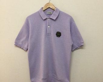 d9e420b03f53a9 Vintage Lacoste Sweater Mens Size M   90s Chemise Lacoste Club Light Purple  Short Sleeve Collared Sweatshirt   Vintage Lacoste Sweatshirt