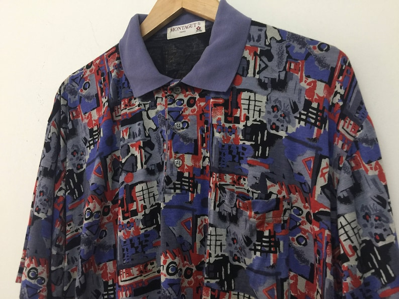 6d0b3a9cdd018 True Vintage Montagut Polo Collared Shirt/Montagut Paris Shirt/Abstract  Design/French/Size 5