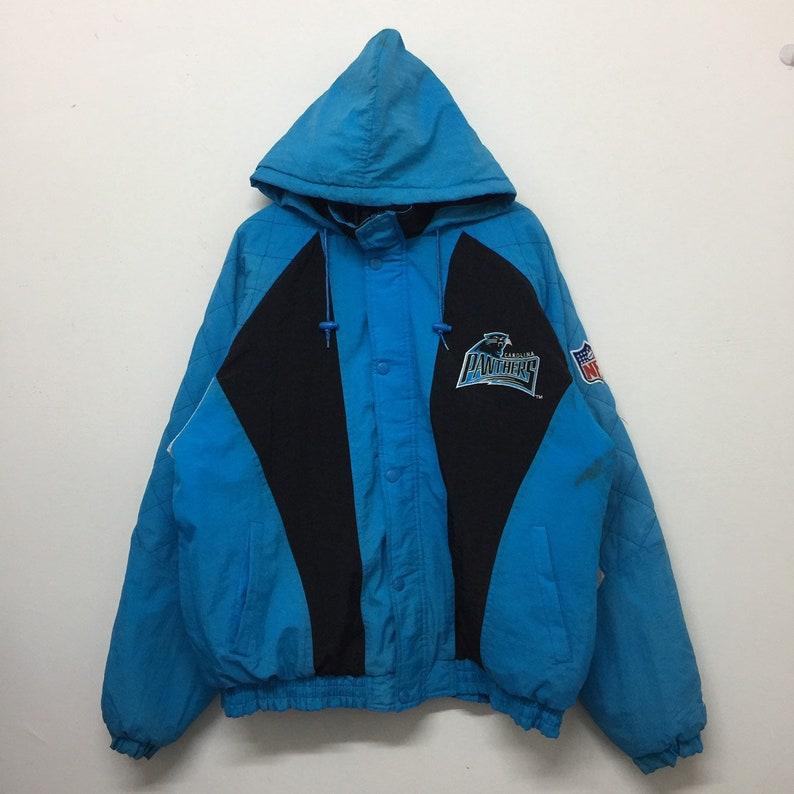 outlet store 56c14 848ae Vintage Carolina Panthers NFL Jacket Men Size XL / Starter Nfl Jacket /  Distressed Carolina Panthers Hooded Quilt Lining Bomber Jacket
