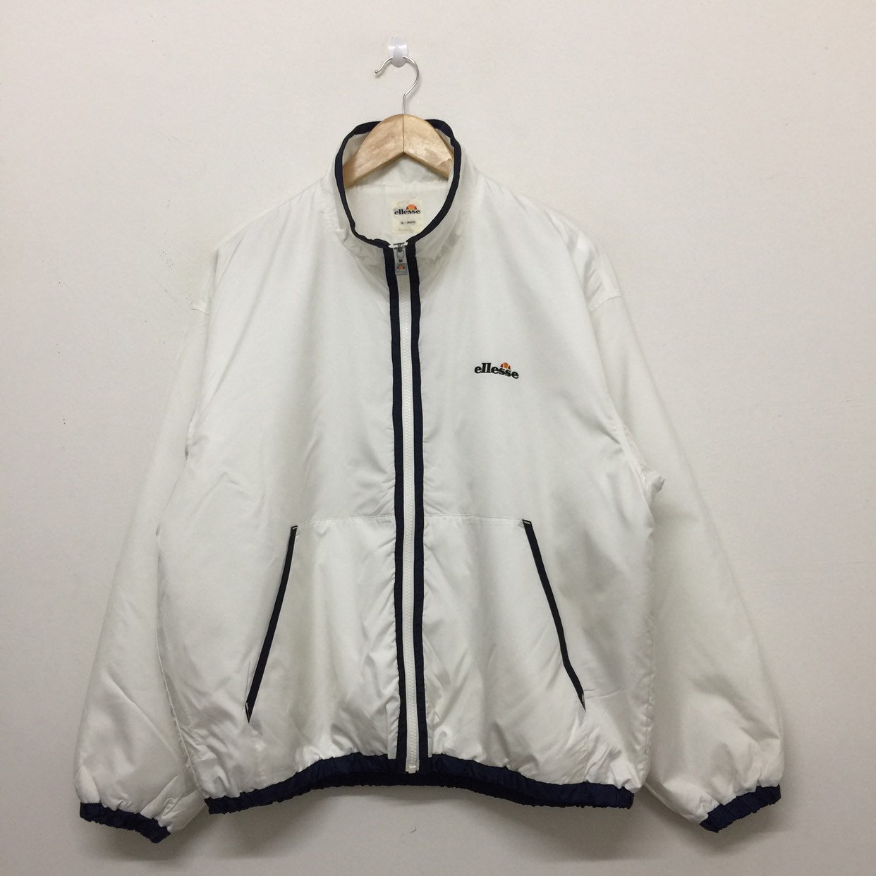 cced23f487 Vintage Ellesse White Windbreaker Mens Size L / 90s Ellesse Full Zip  Lightweight Jacket