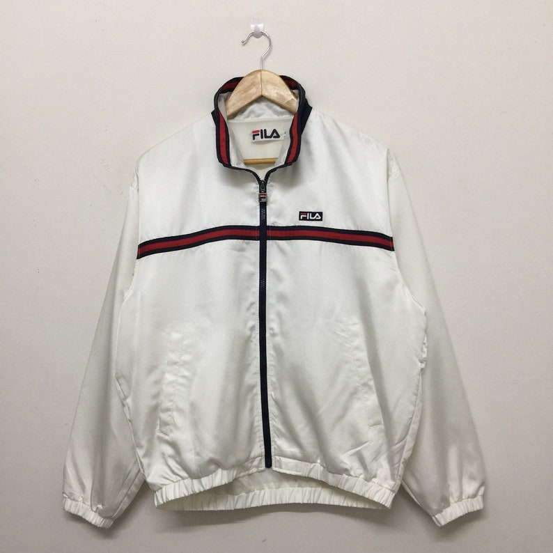 b3cd3cacc96f6 Vintage Fila White Jacket Mens Size M / 90s Fila Full Zip | Etsy