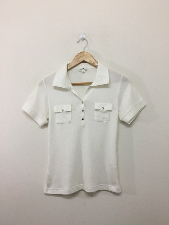 52cb639d125c6 Courreges Shirt / Womens Courreges Collared Snap Button Stretchable Slim  Fit Polo Shirt / White / Size 11R