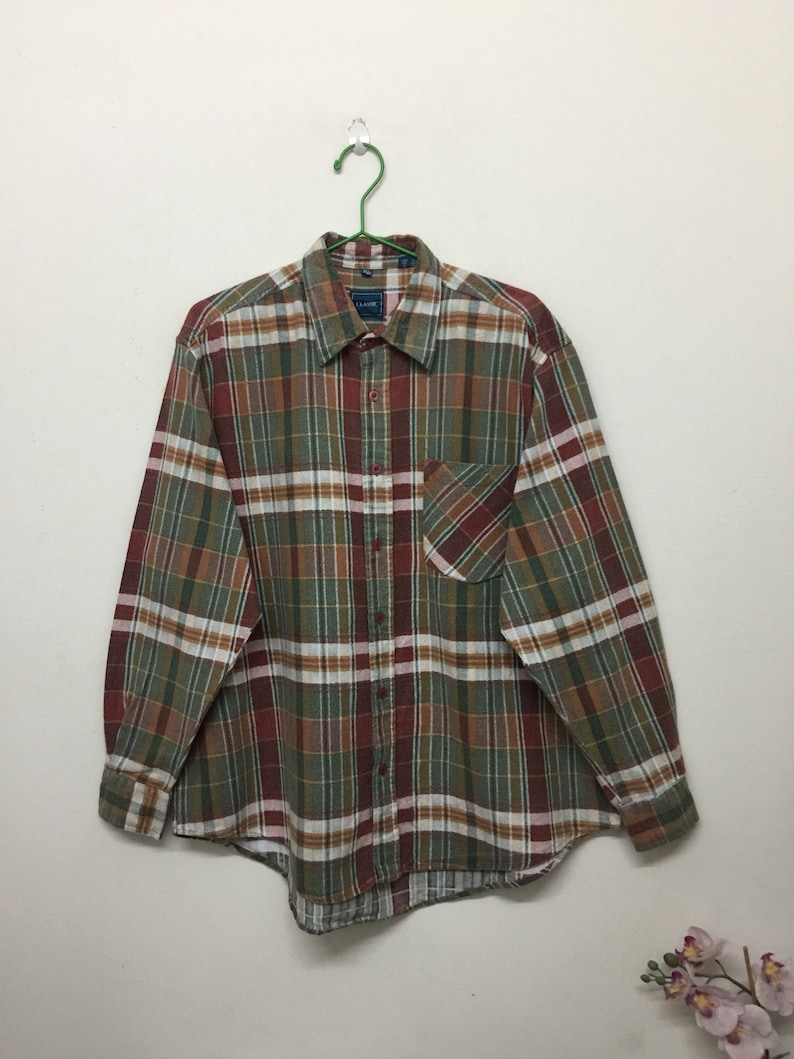 86e14e434 Classic Flannel Shirt/Classic Mens Checkered Button Down Flannel  Shirt/Grunge Shirt/Ref Green/Size L