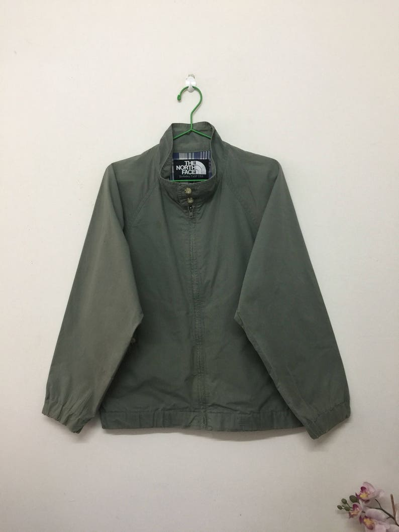 1e25395b4 The North Face Jacket/Distressed The North Face Berkeley Calif USA Zip Up  Cotton Jacket/Activewear/Olive Green/Size M