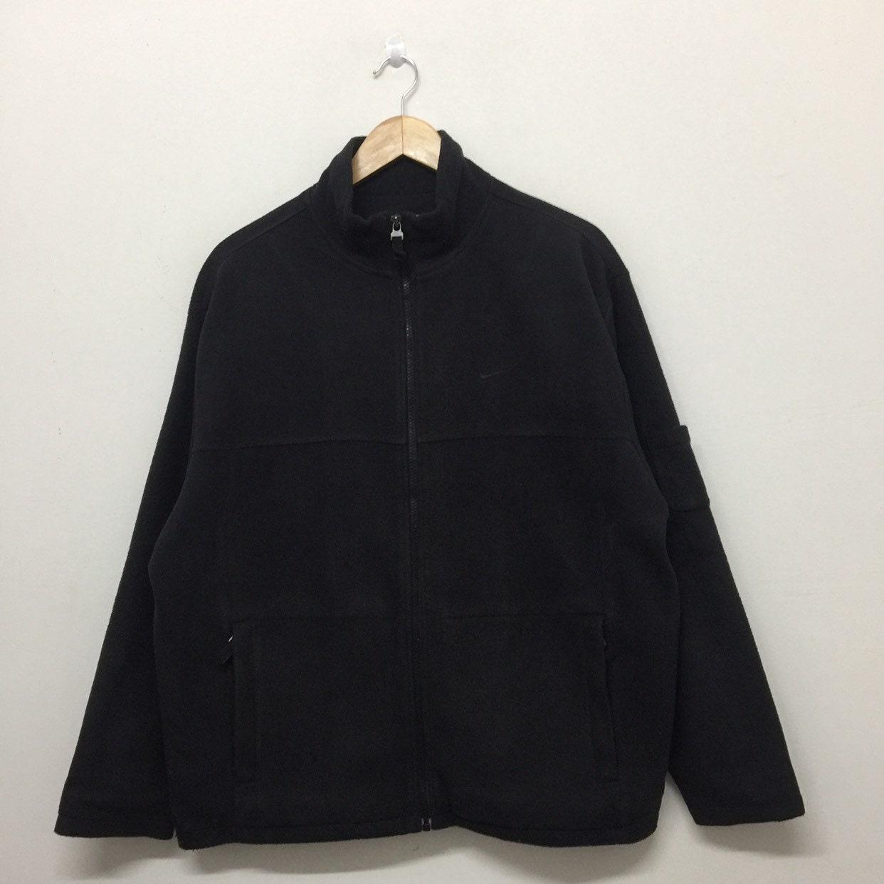cf1bbdc67 Nike Fleece Jacket Mens Size M / Vintage Nike Small Logo Embroidery Full  Zip Black Fleece Jacket