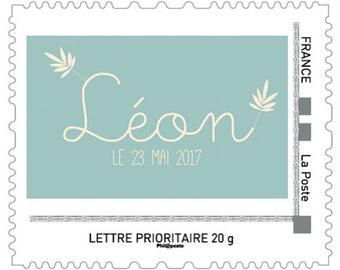 Custom stamp newborn Little Boy, birth, birth announcements boy custom stamp stamp, stamp mail, name stamp