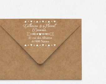 Custom Wedding rubber stamp, save the date stamp, Triangles design wedding stamp, return address Wedding Invitations Stamp, wedding stamp