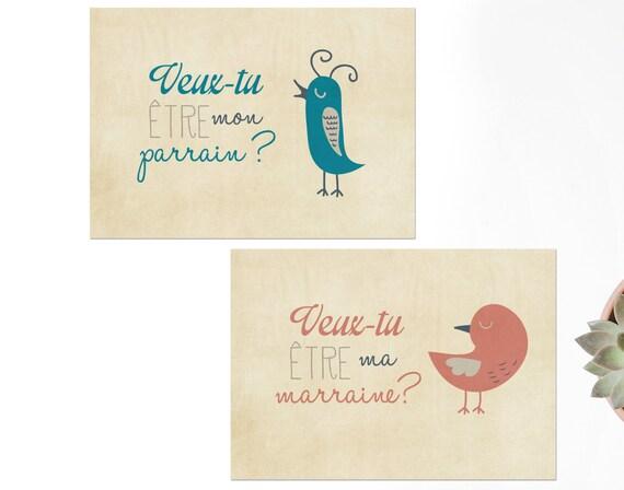 2 Cartes Postales Veux Tu être Mon Parrain Ma Marraine Pour Une Demande Au Parrain Et à La Marraine