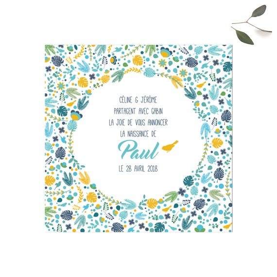 newborn birth announcements liberty flowers front and back etsy