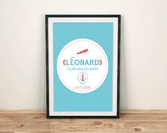 Kids personalized poster A4 sailor, home decor child's, kids room poster custom, personalized birthstone gift