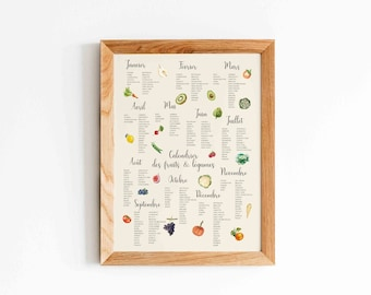 Seasonal Fruits and Vegetables Poster - Botanical Fruit and Vegetable Poster