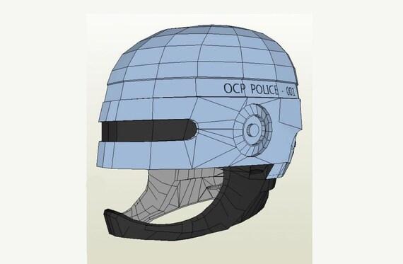 Robocop Helmet Diy 11 Full Scale Life Size Printable Paper Etsy
