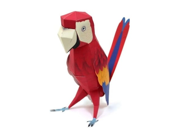 Red parrot DIY printable papercraft kit. Papercraft pattern. Paper ...