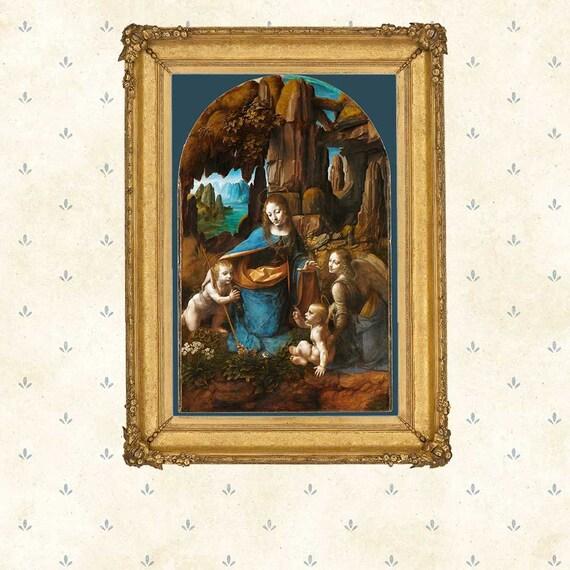 Leonardo Da Vinci Vergine delle Rocce Wall Art Poster Print