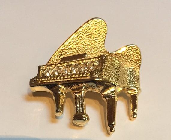 Gerry's Gold Tone Rhinestone Piano Pin -  Piano La