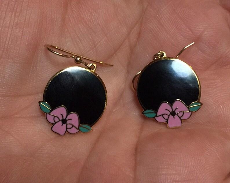 Pink /& Green Enamel Black Vintage Isle of Skye Earrings