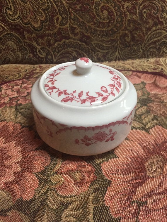 White /& Red Shenango China Sugar Bowl