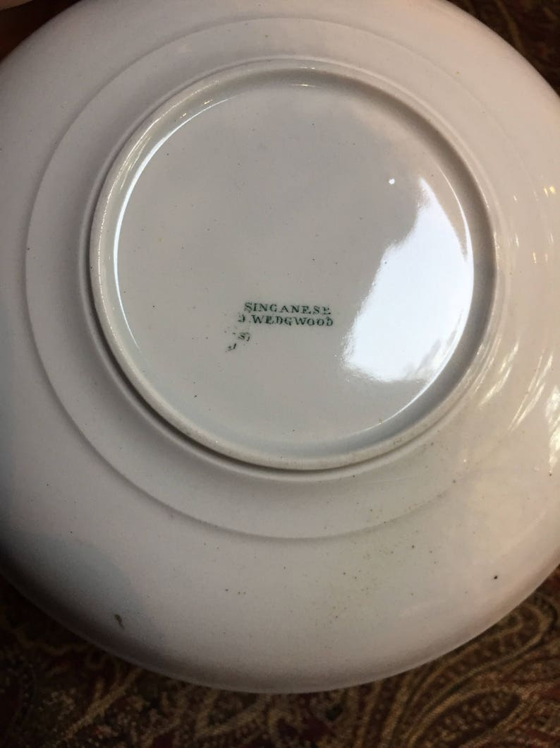 Singanese J Wedgwood Bowl Green and White Transferware