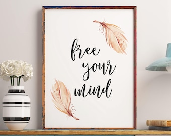 Inspirational Print Free Your Mind Black and White Wall Art College Dorm Decor Digital Typography Printable Poster Wall Art Quote Art Print