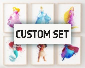 set of six custom set disney wall art disney watercolor