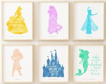 Disney Poster, Disney Quotes, Walt Disney Quote, Walt Disney, Disney Wall  Art, Set Of Six, Disney Silhouette, Disney Print, Disney Decor